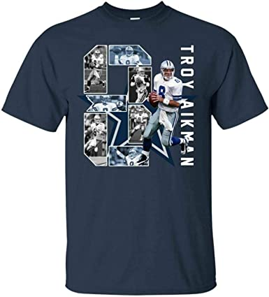 Troy Aikman #8 Quarterback Dallas Cowboys Signature T-Shirt ...