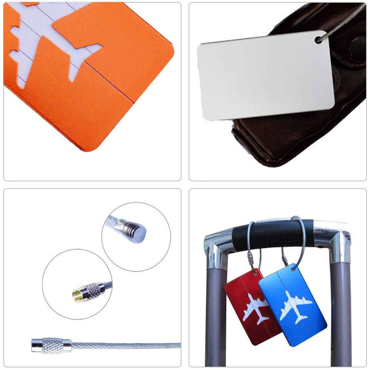 Plata, Negro, Azul, Rojo, Naranja Etiquetas para Equipaje Etiquetas de identificaci/ón para Maleta Etiquetas para Equipaje de Mano Paquete de 5