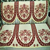 Griiham CREAM WITH FLOWERS DESIGN SOFA COVER D102- PACK OF 6