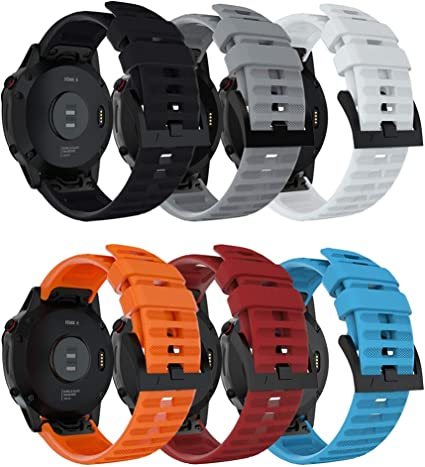 Black Compatible with Garmin Fenix 6 Bands New 22mm Soft Siliconce Sports Straps Adjustable Replacement Wristband Arm Accessories Compatible with Garmin Fenix 6//Fenix 6 Pro Smartwatch