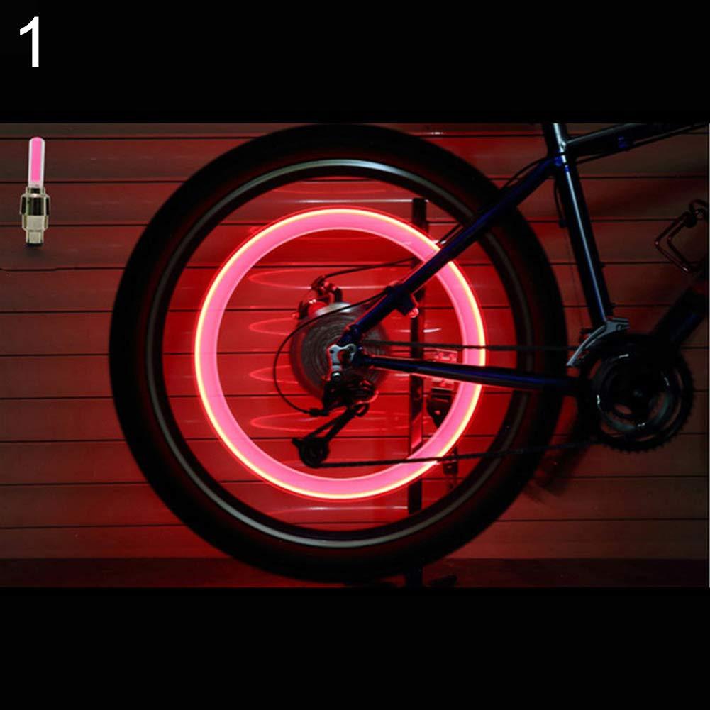 scatkinPYwl 2 Pcs Tire Valve Light Bicycle Motorcycle Wheel Tyre-Light Cap Flash Lamp Neon