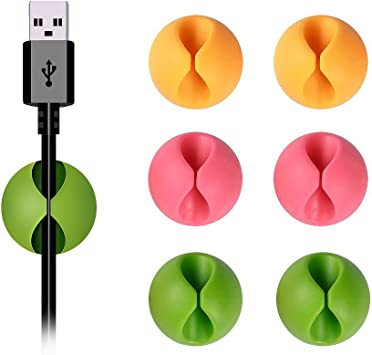 6pc Wire Cord Cable Clips Drop Organizer Ties USB Holder Cable Drop Sticky Tidy