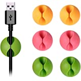 Shintop Cable Clips, Desk Cable Drop, Desk Wire Clips for All Your Computer, Electrical, Charging or Mouse Cord (Colorful,6pcs)