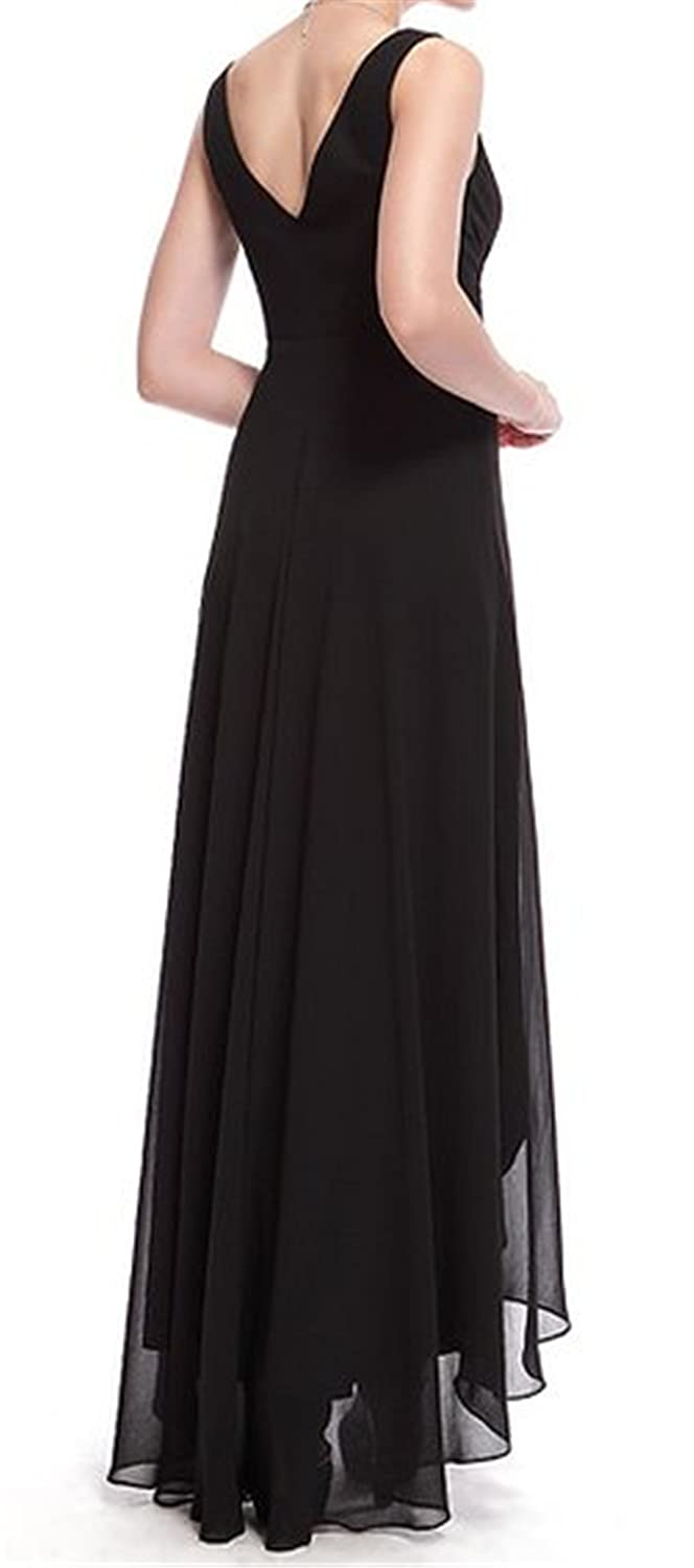 HelloGirls Double V-neck Rhinestones Ruched Bust High Low Evening Dress