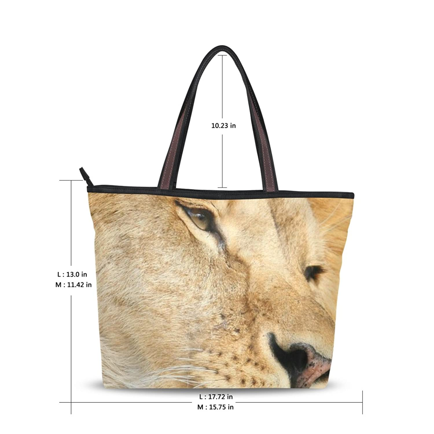 Women Large Tote Top Handle Shoulder Bags Lion Patern Ladies Handbag