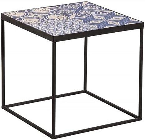 Casa Padrino Mesa Auxiliar de diseño Tapa de cerámica Negro/Azul ...