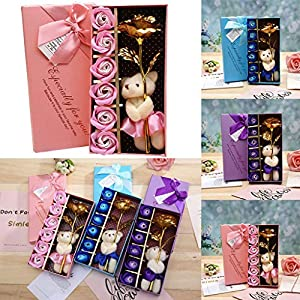 Ouniman 8Pcs Rose Soap Flower Gold Foil Flower Bear Doll Rose Beautiful Unique Gift for Mom Couple Girlfriend Wife Wedding Home Decoration 48