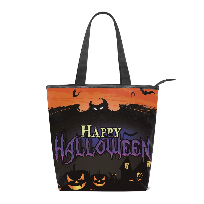 Women Canvas Shoulder Bag Halloween Bag Casual Handbag Shopping Bag Travel Beach Tote Bag for Women Ladies Girls