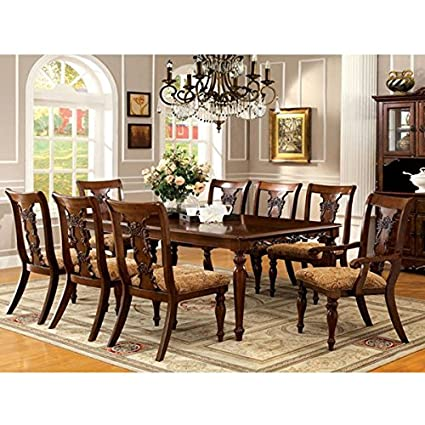 Seymour Dark Oak Finish Formal 9 Piece Dining Set