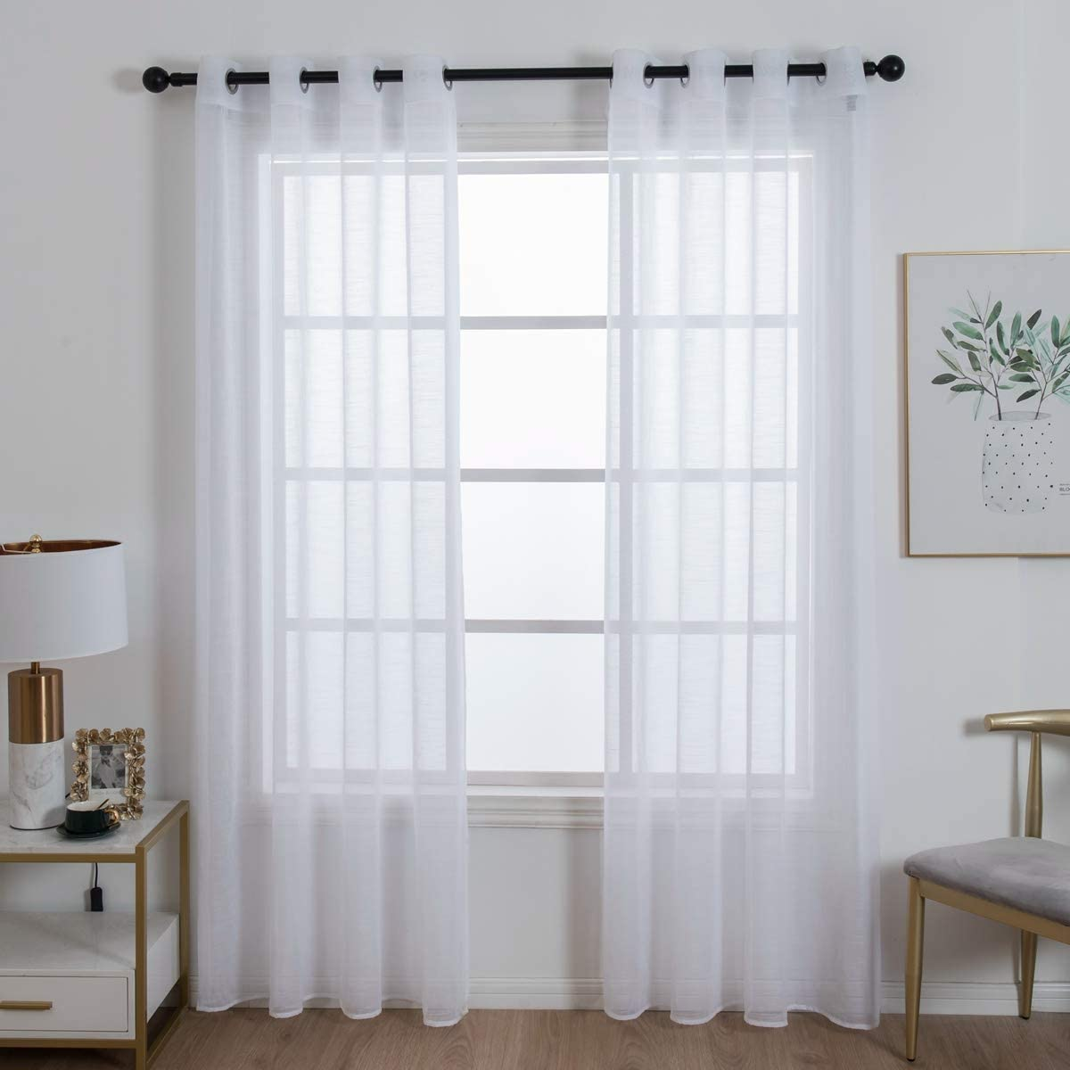 Homeyho Draperies For Sliding Glass Doors Sheer Curtains Grommet Top Sheer Curtains For Bedroom 2 Panels Sheer Curtain Panels With Grommets Draperies For Dining Room 55 X 86 Inch White Home