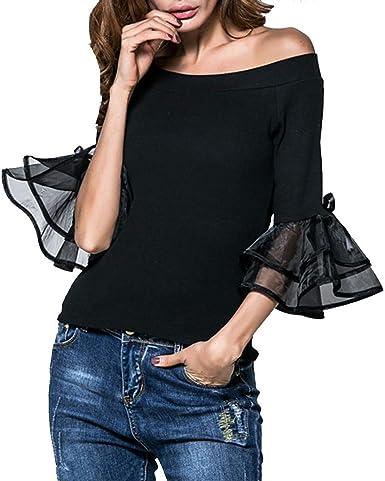 HappyShopYZ Top de Color Liso para Mujer Blusa con Hombros ...