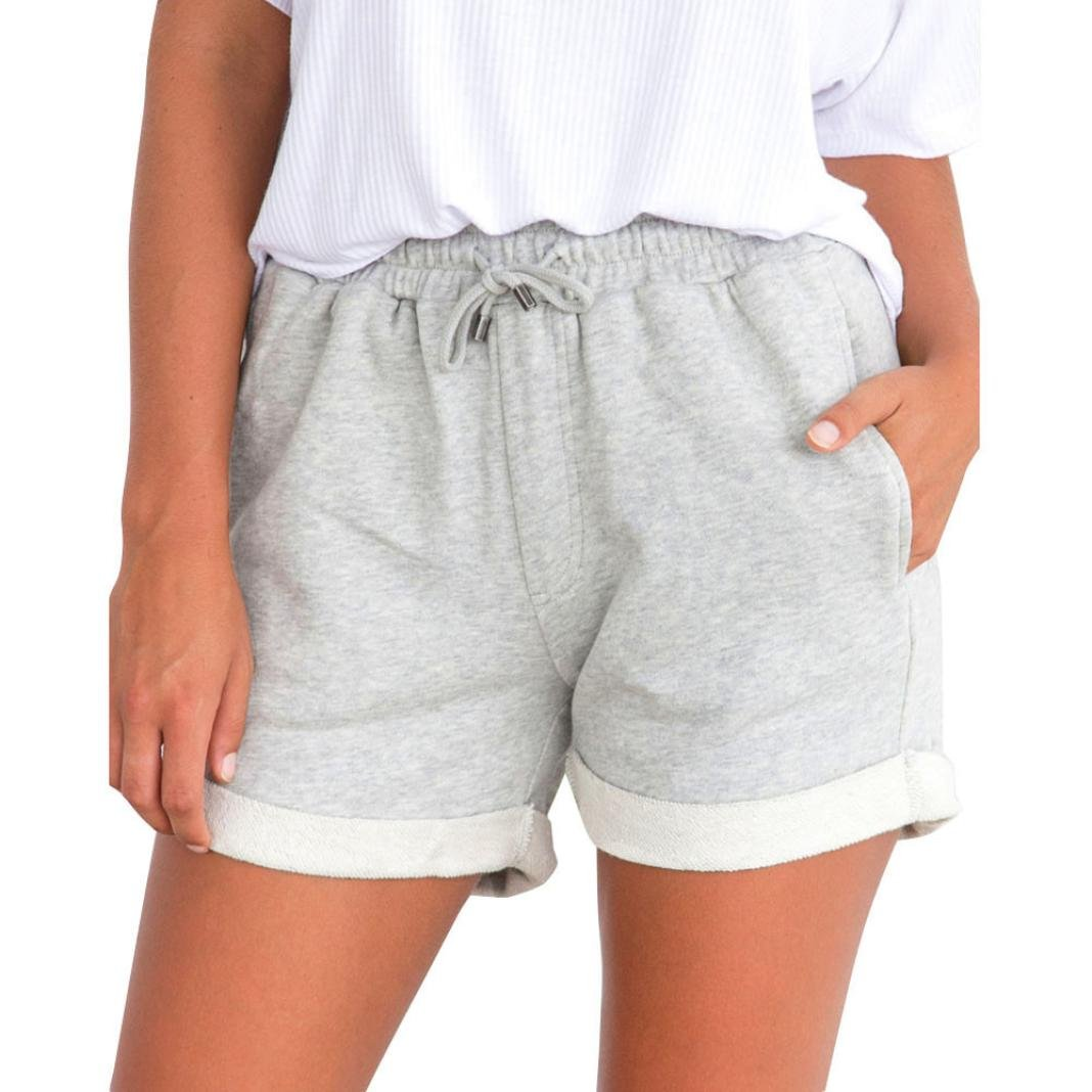 Solike Shorts Femme Été Taille Haute avec Cordon de Serrage Décontractés Femme Short de Sport Loose Bermuda Casual Yoga Fitness Elastique Hot Pants Shorts de Plage