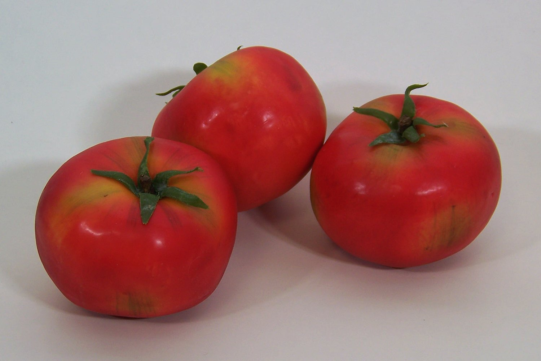 Designer-Decorative-Two-2-Artificial-Faux-Fake-Tomato-Vegetable