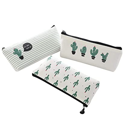 Amazon.com : WRITIMN Cactus Pencil Case Set of 3 Canvas ...