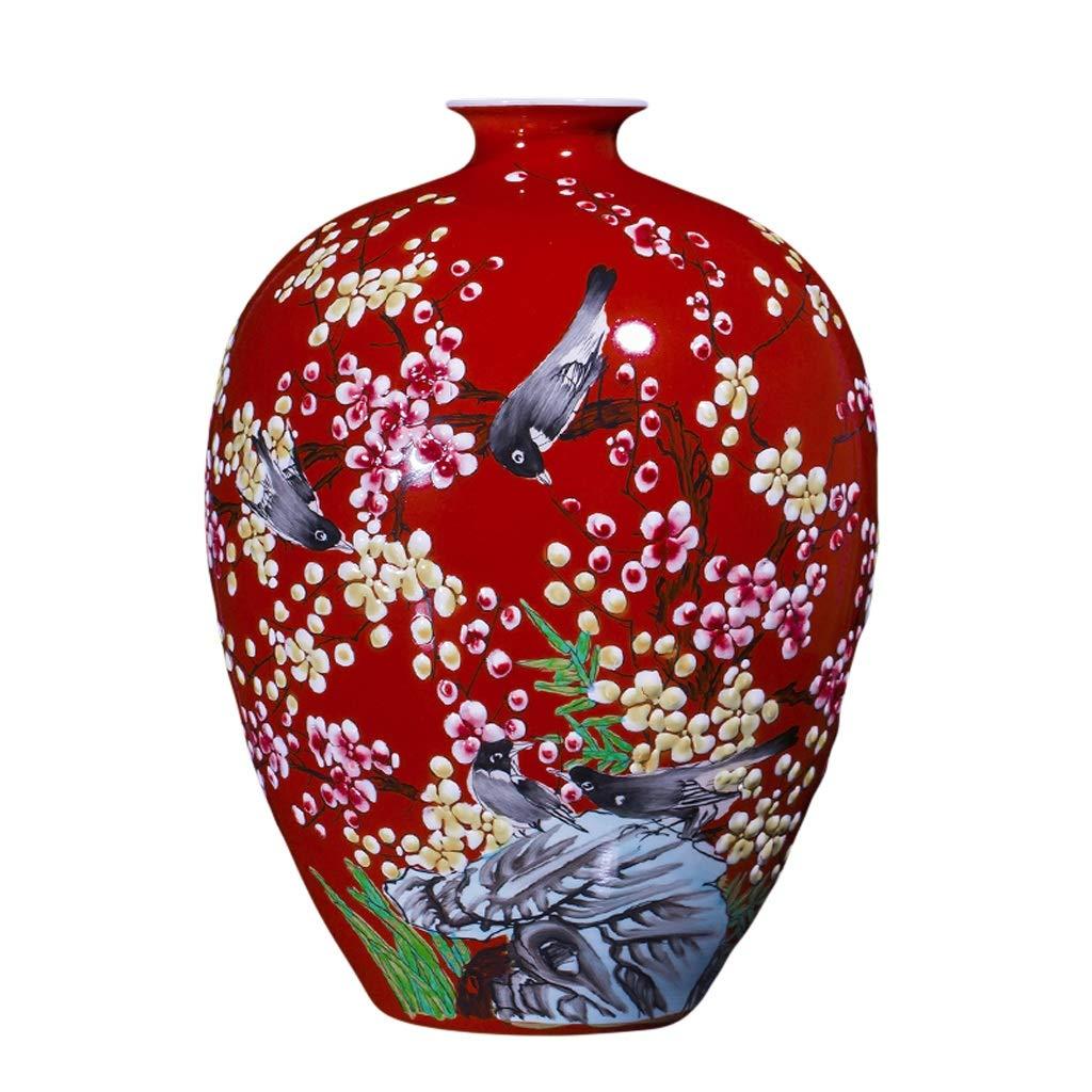 LIULIJUN 花瓶セラミック手描き花瓶フラワーアレンジメント新しい中国の家のリビングルームのポーチの装飾クラフト装飾品プラム (Size : S) B07T8XRWGD  Small