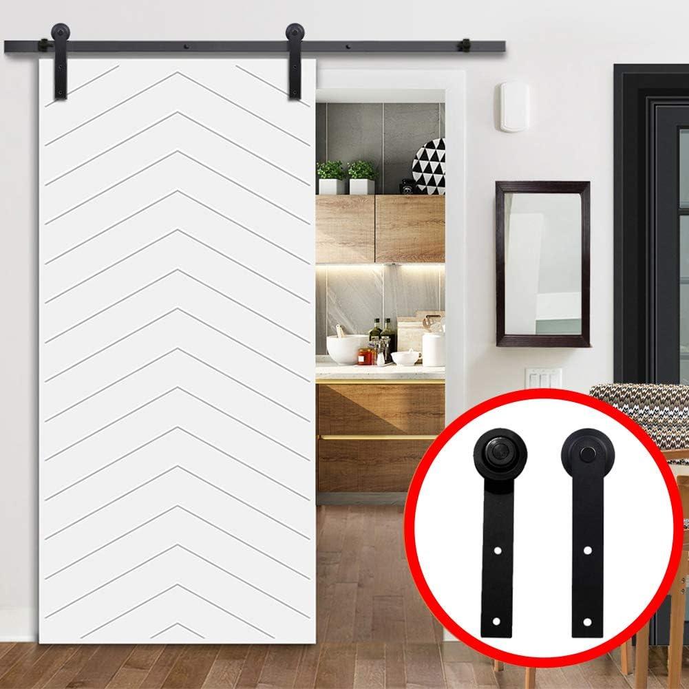 Kit de herrajes para puerta corredera de granero de acero al carbono, 6.6ft con rieles deslizantes para armario, perchas de rodillos con tornillos para puerta de madera individual: Amazon.es: Hogar
