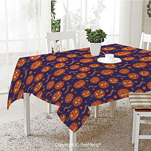 BeeMeng Dining Kitchen Polyester dust-Proof Table Cover,Halloween,Pumpkins Pattern Different Face Expressions Happy Angry Scary Puzzled,Orange Indigo Yellow,Rectangular,59 x 59 -