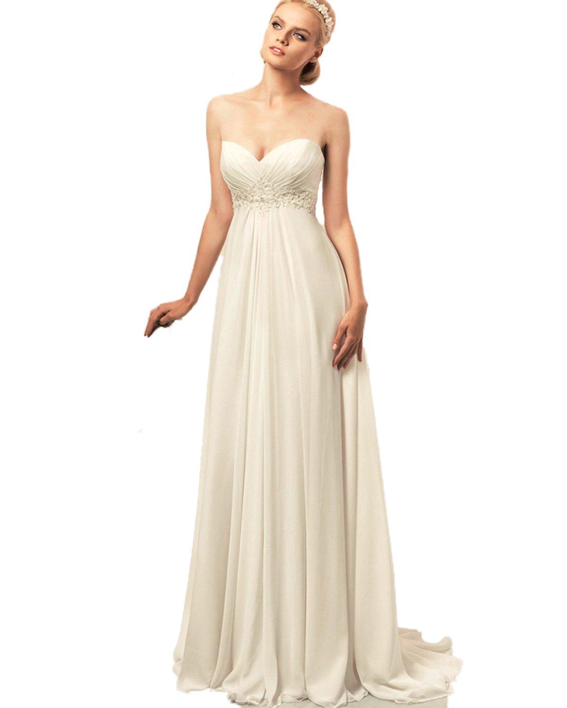 CoCogirls Braut Chiffon Trägerlos Sexy Strand Hochzeitskleid ...