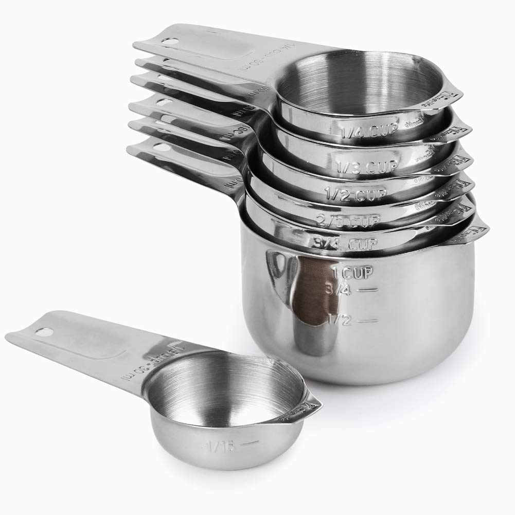Measuring Cups Set of 7 with 1/8 Cup Coffee Scoop, 1Easylife Stainless Steel Metal Measuring Cup, 7 Piece Stackable Set with Spout