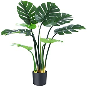 CheerGreen Artificial Plants Fake Plant Monstera Deliciosa Plant in Pot Fake Swiss Cheese Plant 31.4 inch Fall Decor for Home Indoor Outdoor Modern Decor Housewarming Gift Office 1 Pack