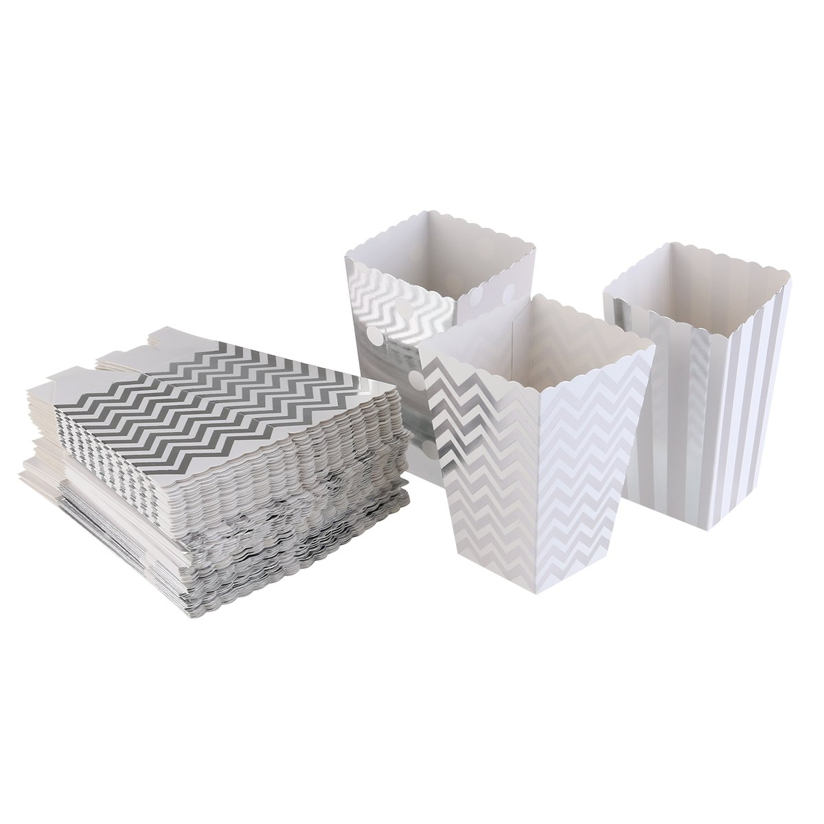 PIXNOR Popcorn Boxes Popcorn Container Party Candy Bag Treat Boxes Silver 50 Pieces