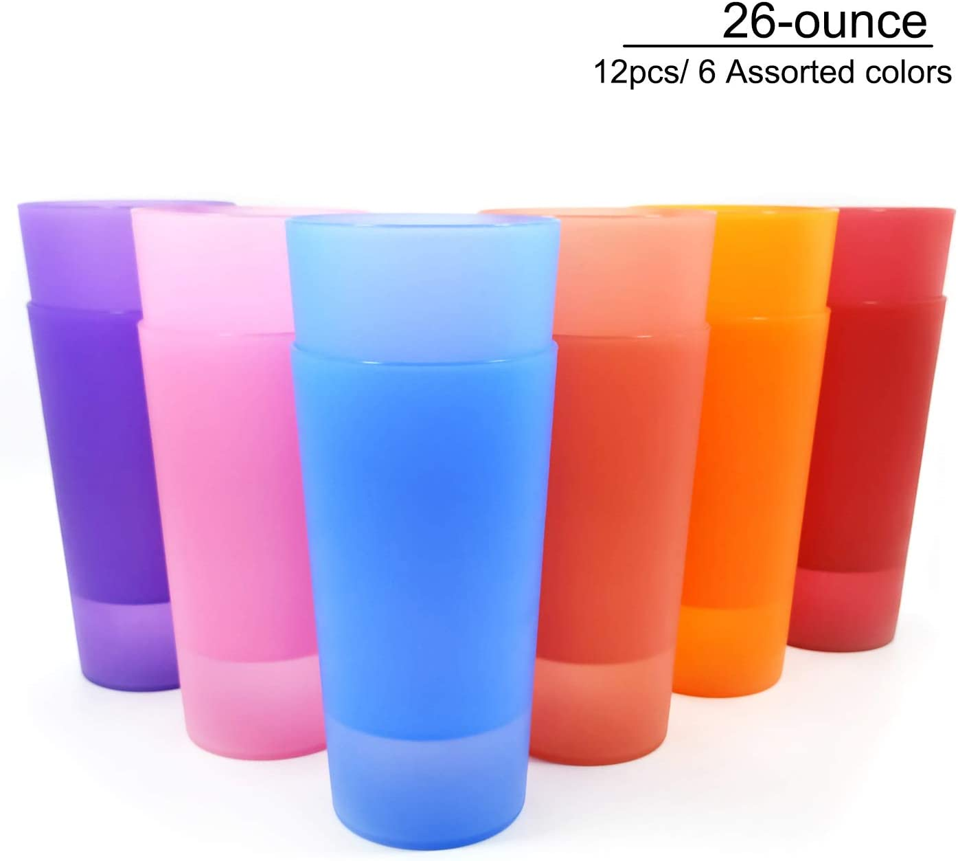 Unbreakable 26-ounce Plastic Tumbler Drinking Glasses, Set of 12 Multicolor, Bright Color- Dishwasher safe, BPA Free