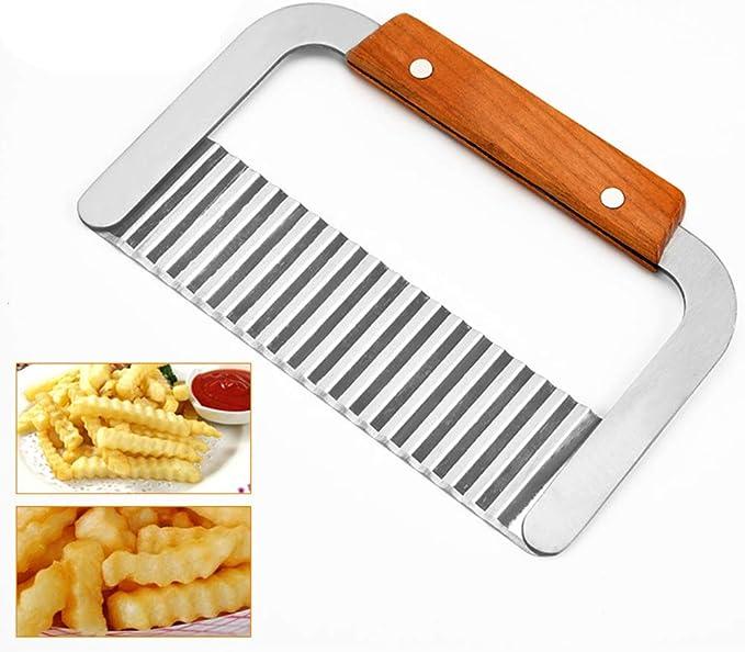 DE CUISINE Gadget Outil de d/écoupe pour pommes de terre carottes concombres Puce Cutter Cuisine Coupe-frites Vievogue ondul/ées en acier inoxydable de pommes de terre Cutter