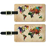 Colorful Rainbow Map of The World Earth Globe Luggage ID Tags Cards Set of 2
