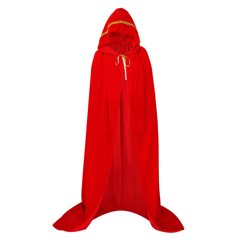 HALLOWEEN VELVET CAPE LONG DELUXE VAMPIRE WITCH CLOAK UNISEX FANCY DRESS COSTUME