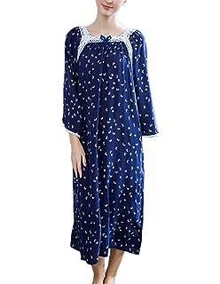 d164a82fa8 HONG HUI Sleepshirt Women Long Sleeve Nightgown Floral Lace Long Sleepwear