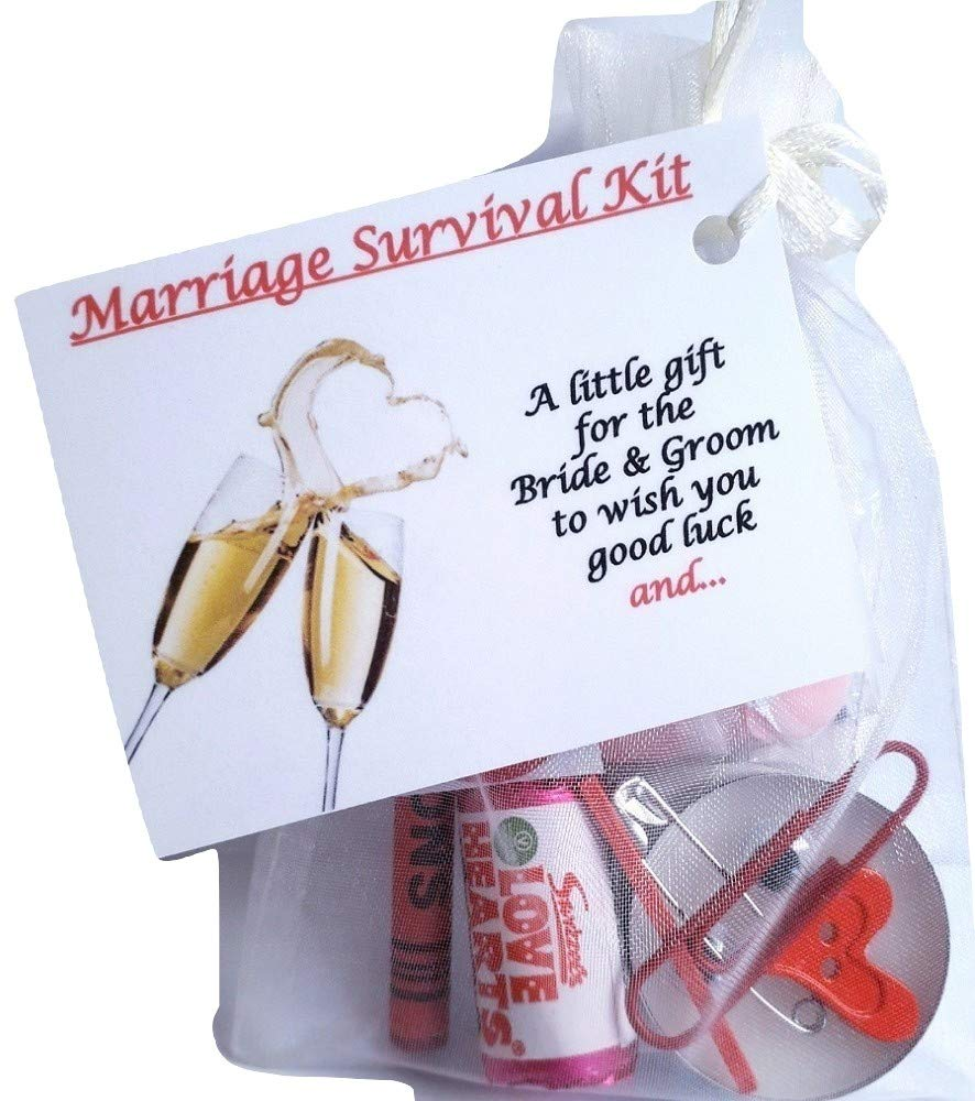 Bagsoflove Gifts Marriage Survival Kit - Good Luck Unique Gift For The  Married Couple - Wedding gift - Newly Weds - Keepsake Novelty Wedding Gift