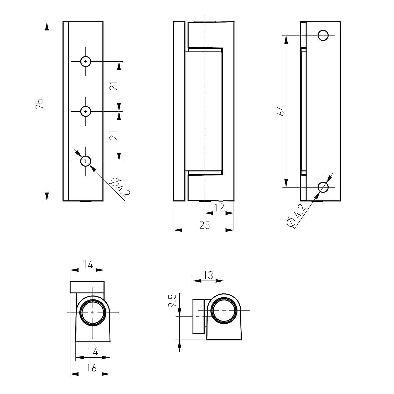 2 x Fensterb/änder 75 mm braun RAL 8019 T/ürb/ürb/änder zum Aufschrauben Renovierb/änder von SO-TECH