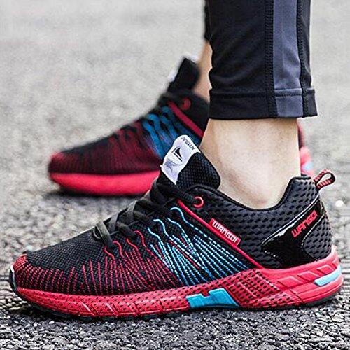 De de UK7 Hommes Exercice YIXINY Course Noir Respirant sport Chaussures taille Et 5 8 Pour Printemps Couleur Chaussures CN42 Chaussures Maille De EU41 Antidérapant Rouge Ultraléger Été p5qBA85w