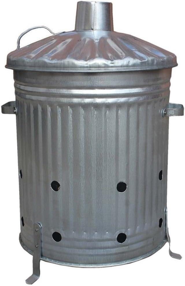 60 litros de metal galvanizado para incinerador de jardín, contenedor para quemar fuego, hojas de papel de madera de caucho, fabricado en U. K.: Amazon.es: Bricolaje y herramientas