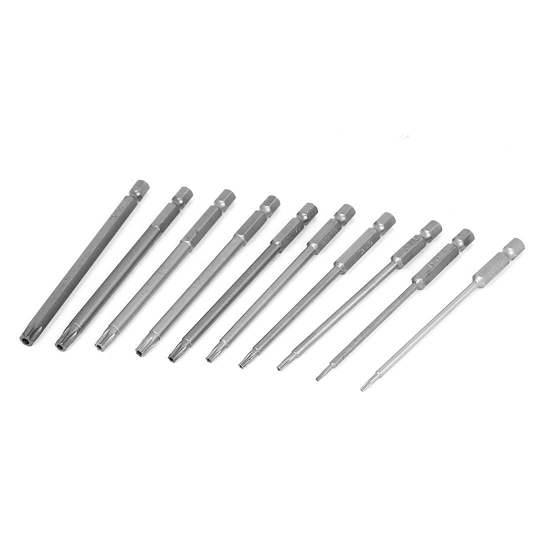 100mm Long Magnetic Torx Security Electric Screwdriver Bit Set 10 In 1 uxcell a15072800ux0337