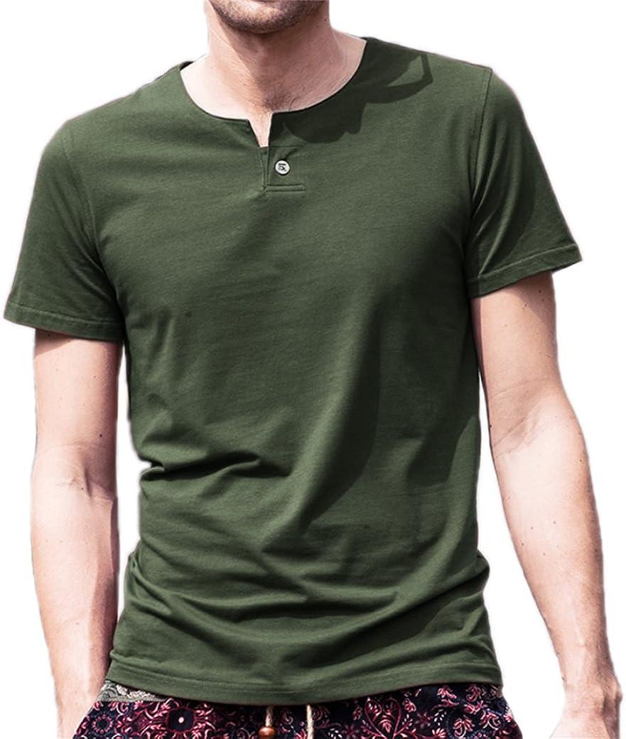 AIYINO Mens Summer Cotton Casual Henley Shirts Single Button Placket Plain v Neck T-Shirts Regular Fit