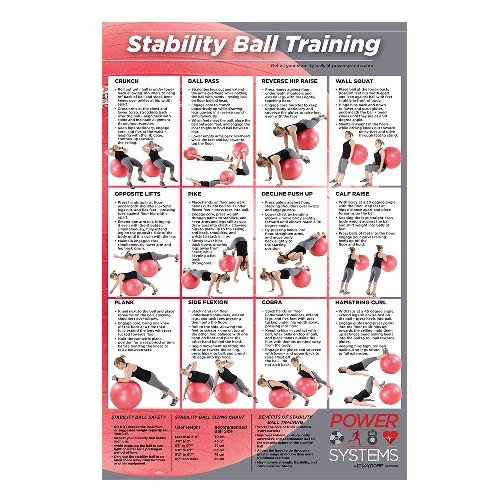 Power Systems Stability Ball Training, Full-Color Laminated Poster, 24 x 36 Inches (93105) by Power Systems