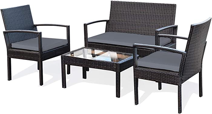 Tangkula 4 Piece Conversation Set, with Glass Coffee Table, Loveseat & 2 Single Chairs, Patio Outdoor Garden Lawn Rattan Wicker Chat Set, Outdoor Furniture Set for Small Places (1, Grey)
