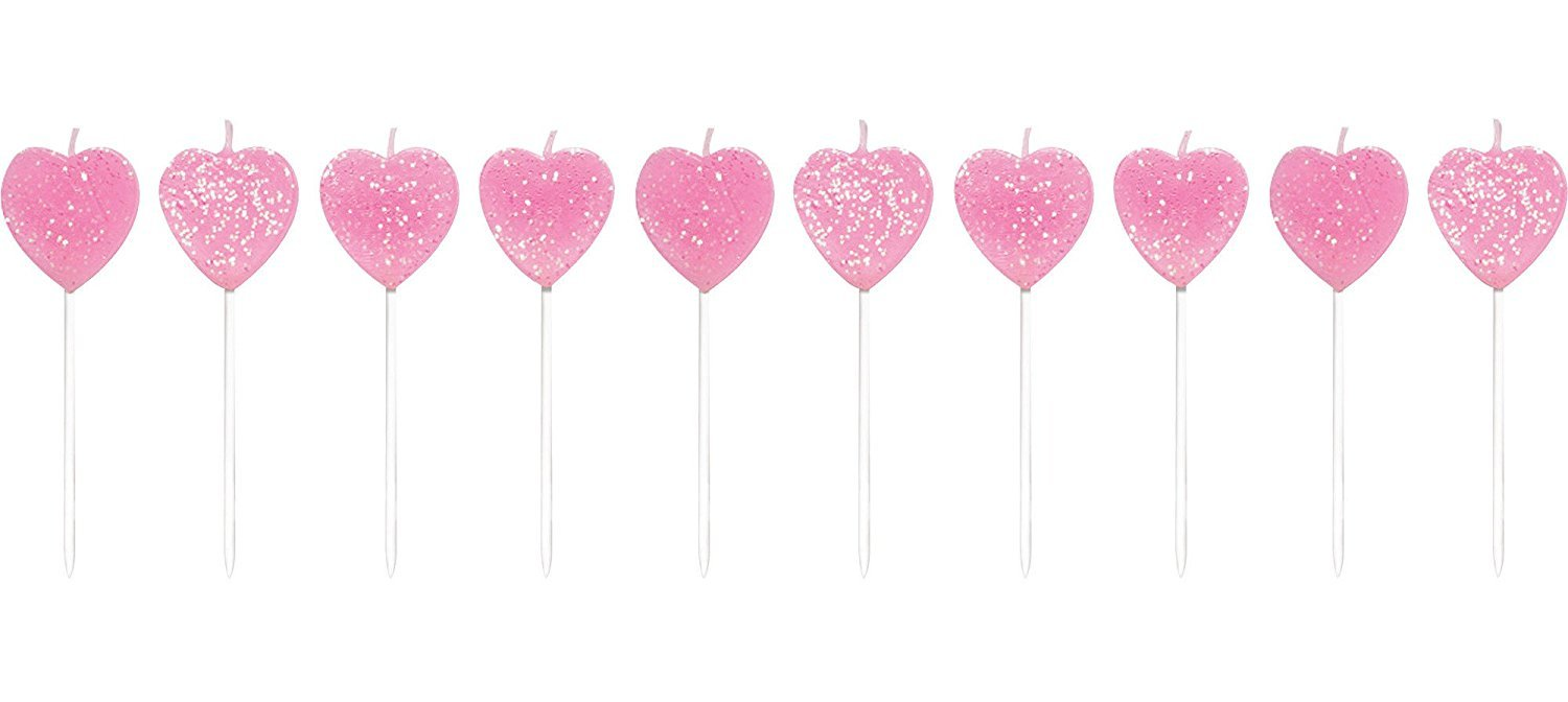 Creative Converting 20 Count Pick Sets with Glitter Cake Candles, Hearts, Pink