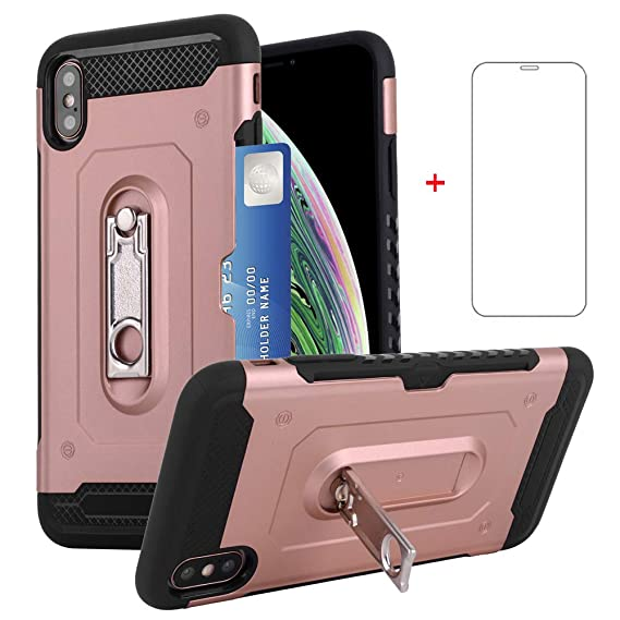 Amazon Com Iphone Xs Max Wallet I Phone Case 6 5 Inch With Tempered