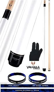 product image for Valhalla by Viking VA108 White 2 Piece Pool Cue Stick No Wrap 18-21 oz. Plus Billiard Glove & Bracelet