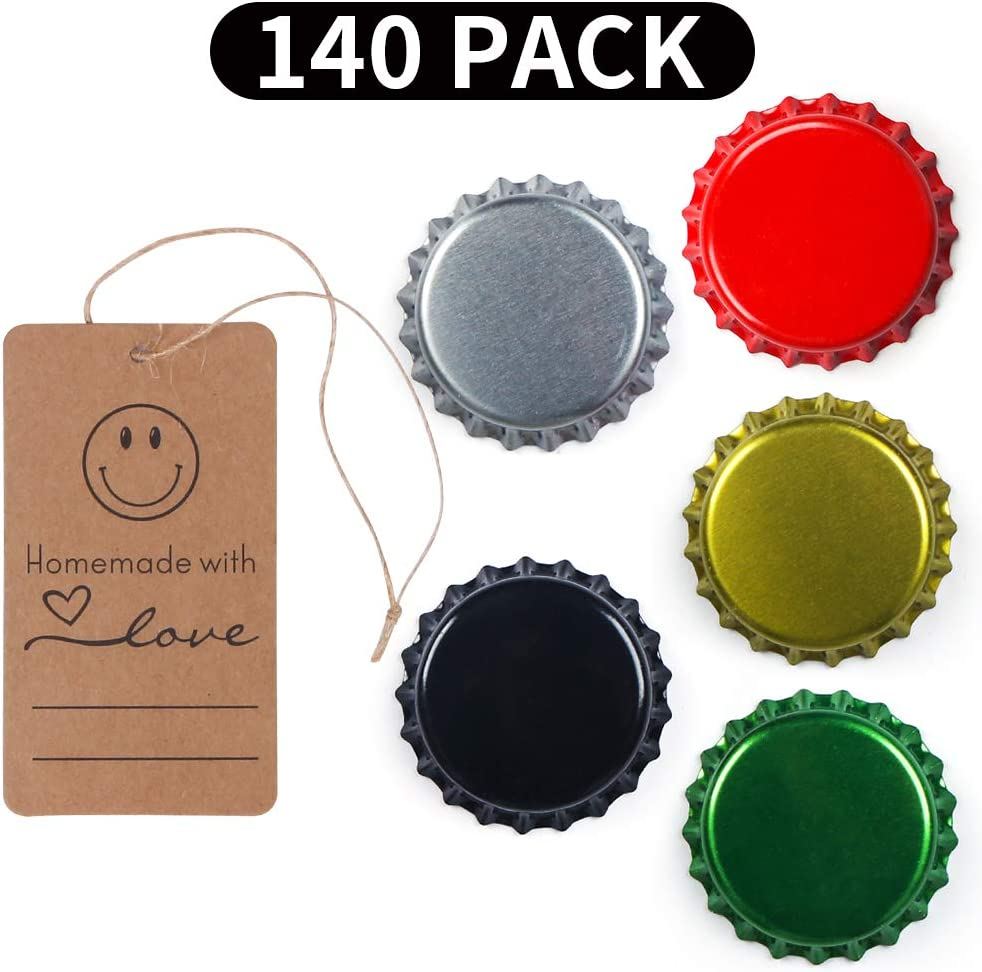 140 Pack Beer Bottle Caps Oxygen Absorbing Crowns, Ideal for HomeBrew, 5 Assorted Colors