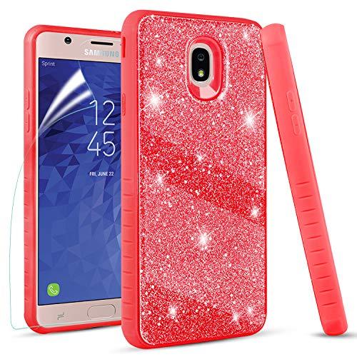 Samsung Galaxy J7 Refine Case, Galaxy J7 2018 / Galaxy J7 Star/Galaxy J7 V 2rd Gen Case, with Screen Protector, Dual Layer Protective Bling Gliter Shine Case for Women Girls, Red