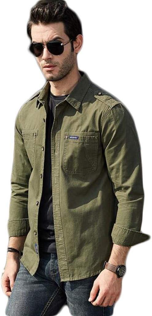 ZJEXJJ Camisas para Hombres Camiseta Polo de Manga Larga Militar Moda Floja Abotonada Sudadera de Manga Larga Ocasional Camiseta de Color sólido para Hombre (Color : Verde, Tamaño : M): Amazon.es: Jardín