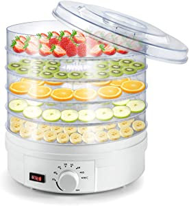 Sunix Electric Food Fruit Dehydrator Machine, Portable Countertop Adjustable Thermostat, BPA-Free 5-Tray,for Jerky, Fruit, Vegetables & More, White