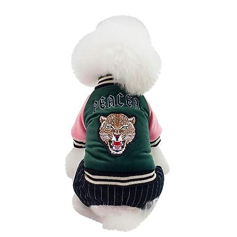 Ropa Perro,Gusspower Abrigos para Mascotas algodón Gruesa y Abrigada Rayas Ropa Otoño Invierno Cuatro