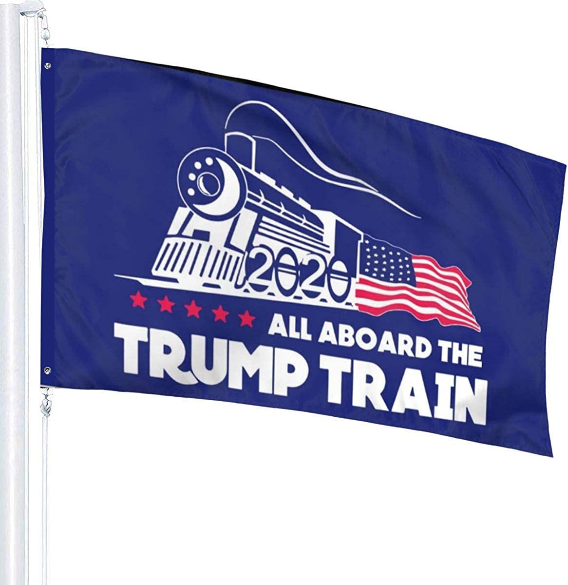 PT/&CM Pack All Aboard The Trump Train Flag Durable Color Polyester with Brass Eyelet3x5 Reinforced Double Stitch Canvas Edge