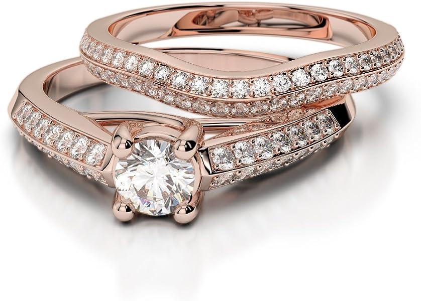 Oro rosa/oro blanco/oro amarillo/Platinum Diamond Juego de Anillos de Boda agdr-2043-sihi