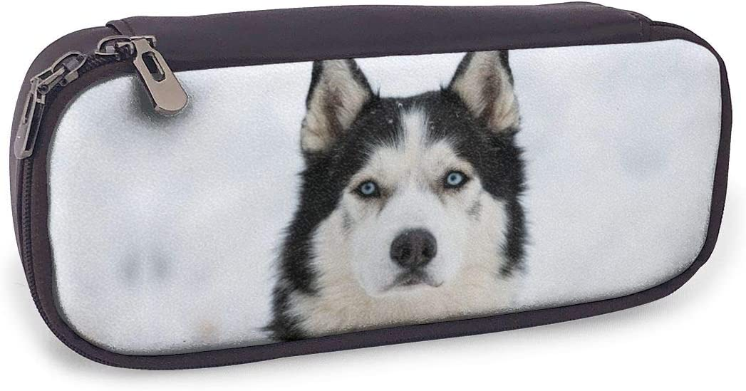Husky Dog PU Leather Pencil Case,Large Capacity Pen Bag,Durable Students Stationery Organizers with Double Zipper Elastic Belts for School Office 1.5 X 3.5 X 8 in