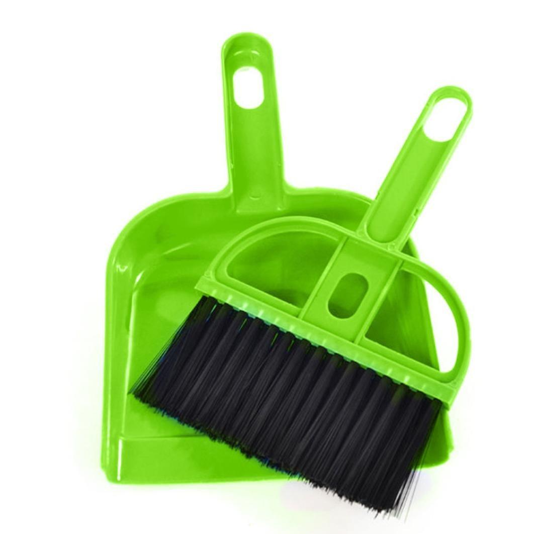 Botrong Mini Desktop Sweep Cleaning Brush Small Broom Dustpan Set (Green)